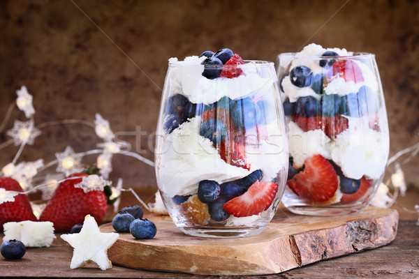 Blueberry Strawberry Trifles for July 4th Stock photo © StephanieFrey