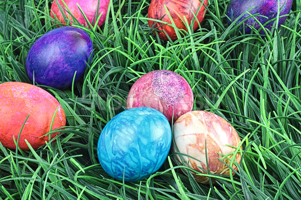 Tie Dyed Easter Eggs in Grass Stock photo © StephanieFrey