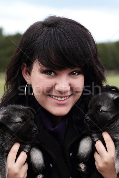 Woman Holding Puppies Stock photo © StephanieFrey