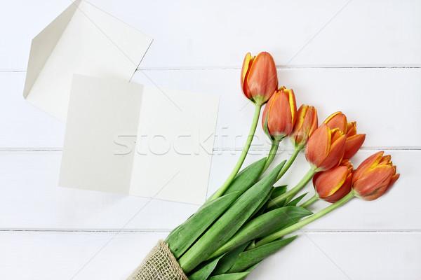 Carte vierge tulipes coup bouquet blanche table en bois Photo stock © StephanieFrey