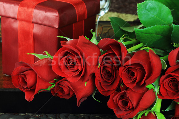 Red Rose and Gift Stock photo © StephanieFrey