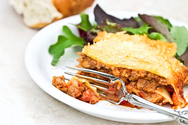 Lasagna forcella carne erbe menta Foto d'archivio © StephanieFrey