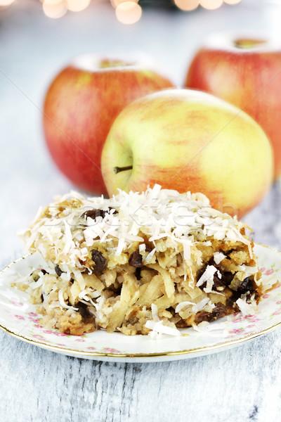 リンゴ リンゴ ココナッツ レーズン 浅い 食品 ストックフォト © StephanieFrey