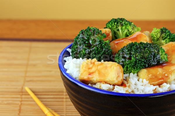 Frito tofu brócolis vegetariano prato Foto stock © StephanieFrey