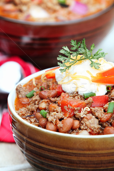 Chili Con Carne with Sour Cream Stock photo © StephanieFrey