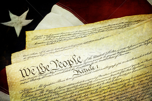 Textured American Constitution with US Flag Stock photo © StephanieFrey