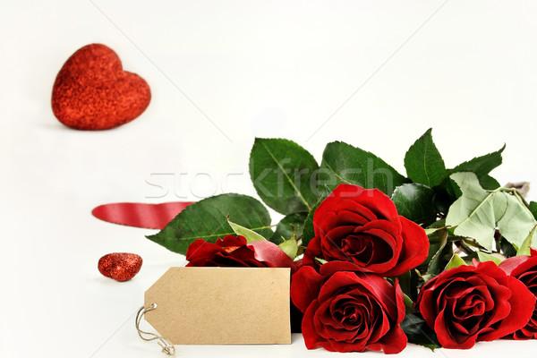 Rosas cartão em branco rosas vermelhas vazio etiqueta brilho Foto stock © StephanieFrey