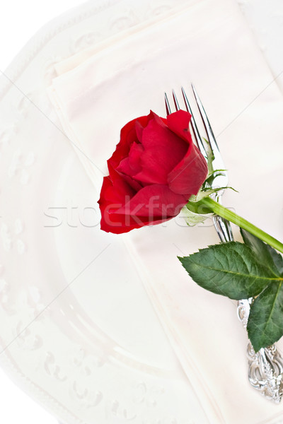 Place Setting with Red Rose Stock photo © StephanieFrey