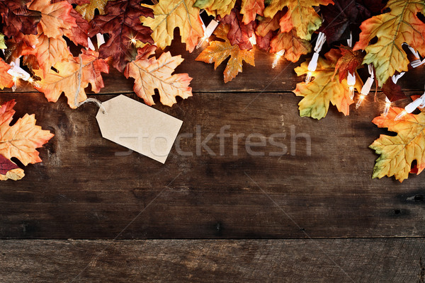 Stock photo: Fall Leaves over Wooden Background