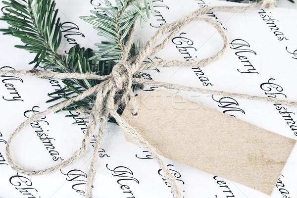 Retro Noel hediye etiket güzel dekore edilmiş Stok fotoğraf © StephanieFrey