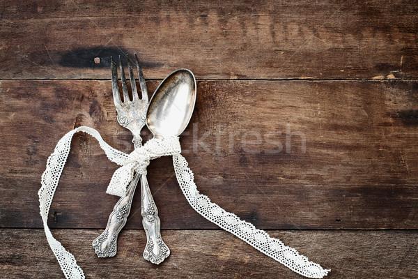 Antik ezüst étkészlet durva fából készült kanál villa Stock fotó © StephanieFrey