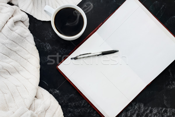 Sweater Coffee and Open Book Stock photo © StephanieFrey