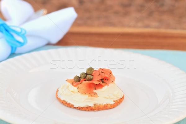 Salmão creme queijo raso festa Foto stock © StephanieFrey