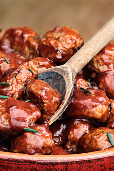 Heerlijk Turkije gehaktballetjes rijke tomatensaus extreme Stockfoto © StephanieFrey
