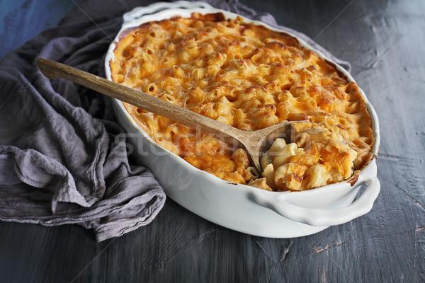 Macaroni kaas rustiek hoog engel Stockfoto © StephanieFrey