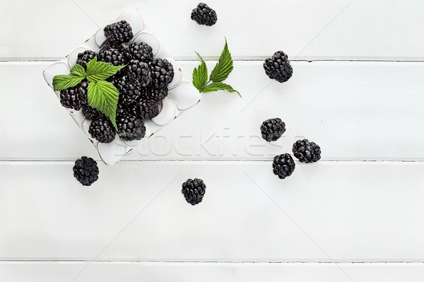 Fresh Blackberries over White Wood Table Top  Stock photo © StephanieFrey