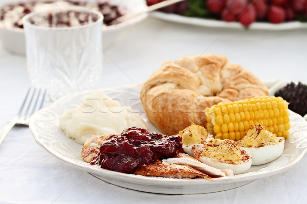 Cranberry Sauce Over Roasted Turkey Stock photo © StephanieFrey