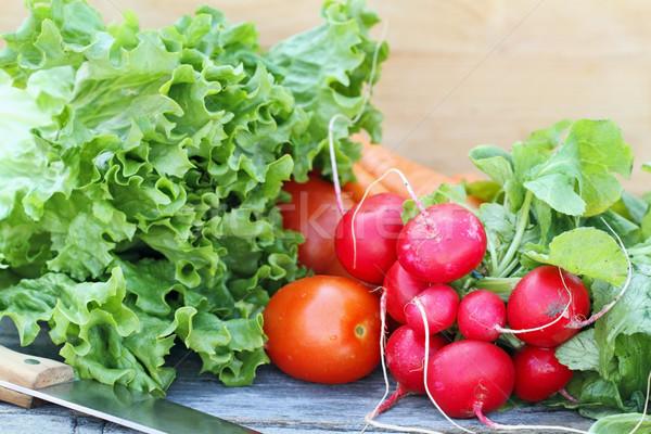 Stockfoto: Verse · groenten · mes · vers · groenten · rustiek · blad