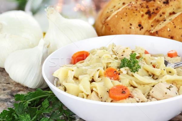 Stok fotoğraf: Tavuk · çorba · taze · maydanoz · sarımsak