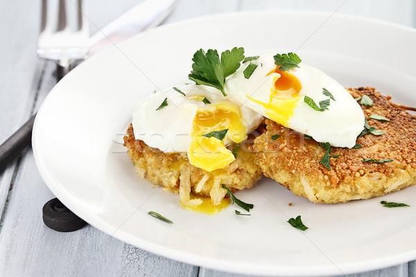 Santoreggia patate pancake uova poco profondo frutta Foto d'archivio © StephanieFrey