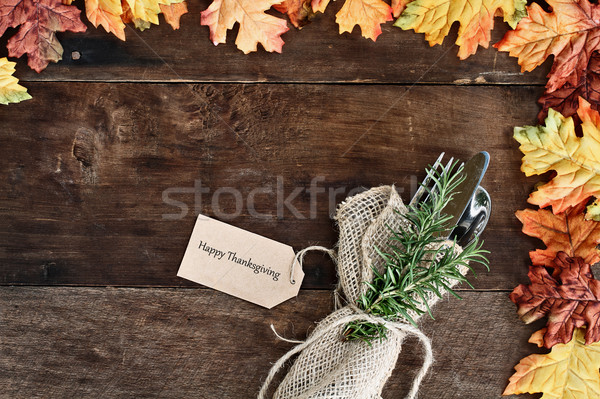 Ezüst étkészlet kártya fából készült zsákvászon szalvéta boldog Stock fotó © StephanieFrey