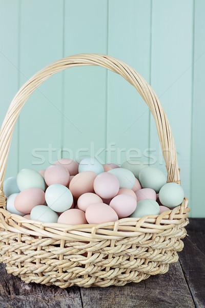 Colorful Fresh Farm Eggs Stock photo © StephanieFrey