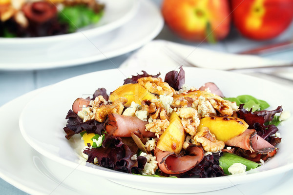 Peach, Gorgonzola And Pastrami Salad Stock photo © StephanieFrey