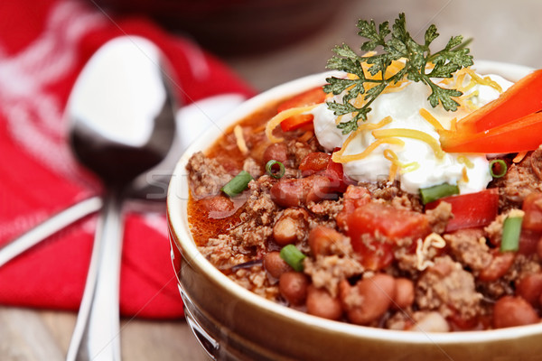 Bowl of Chili Con Carne Stock photo © StephanieFrey