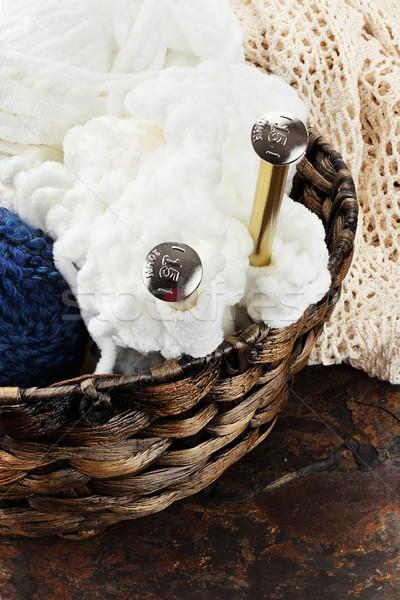 Aiguilles panier fils rustique travaux Photo stock © StephanieFrey