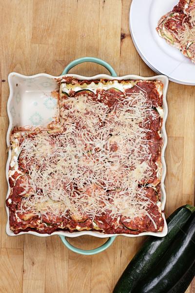 Zucchine lasagna fetta mancante alimentare Foto d'archivio © StephanieFrey