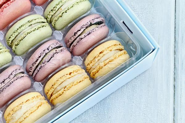 Bandeja pastel macarons caixa fresco Foto stock © StephanieFrey