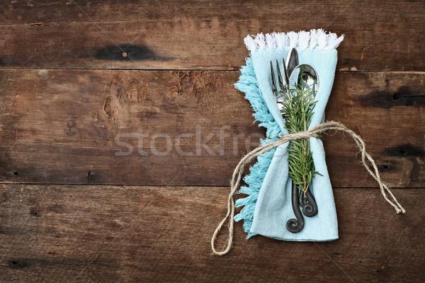 Rustique argenterie bois bleu serviette vieux Photo stock © StephanieFrey