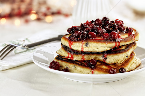 Cranberry Sauce over Pancakes Stock photo © StephanieFrey