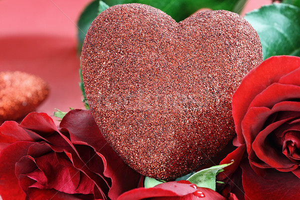 Valentines Day Heart and Roses Stock photo © StephanieFrey