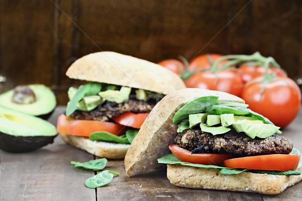 Сток-фото: вегетарианский · гриб · Burger · вегетарианский · гамбургер · землю