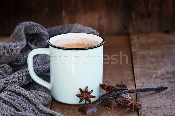 Hot Cocoa or Coffee with Chocolate and Spices Stock photo © StephanieFrey