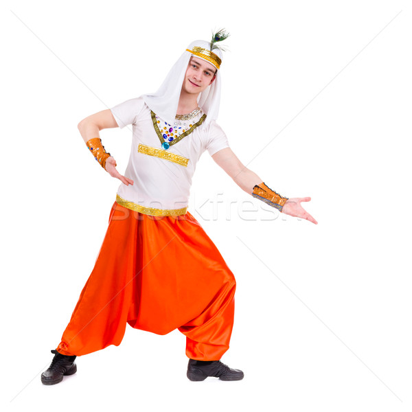man wearing a egyptian with pointing gesture Stock photo © stepstock