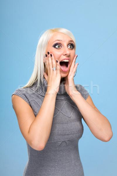 şaşırmış genç kadın mavi kadın eller gülümseme Stok fotoğraf © stepstock