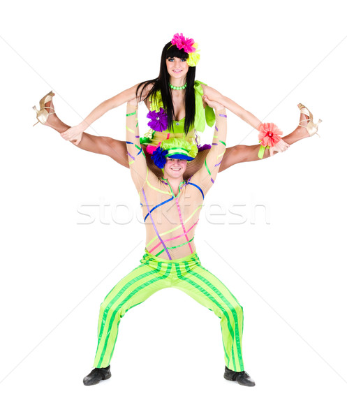 Acrobat danseur couple carnaval isolé blanche Photo stock © stepstock