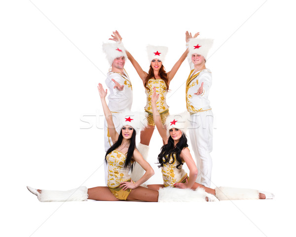 dancer team wearing a folk cossack costumes Stock photo © stepstock
