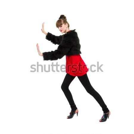 женщину что-то мнимый изолированный белый Сток-фото © stepstock