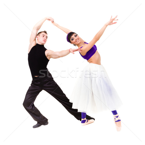 Full length of young ballet couple dancing Stock photo © stepstock
