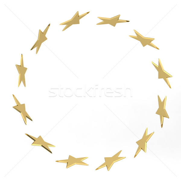 Abstract stars gold confetti, frame isolated on white background Stock photo © stepstock