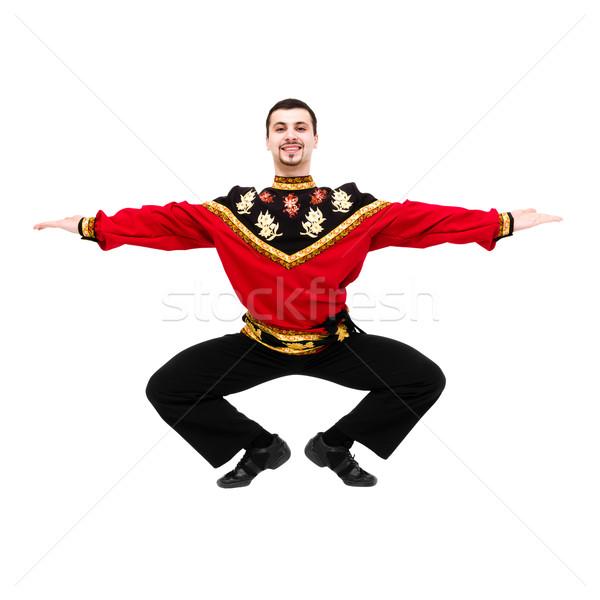 Foto d'archivio: Giovane · indossare · russo · costume · dancing · isolato