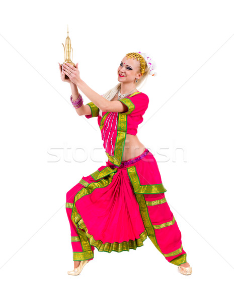 full length portrait of indian woman dancing Stock photo © stepstock