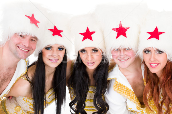 smiling dancer team wearing a cossack costumes Stock photo © stepstock