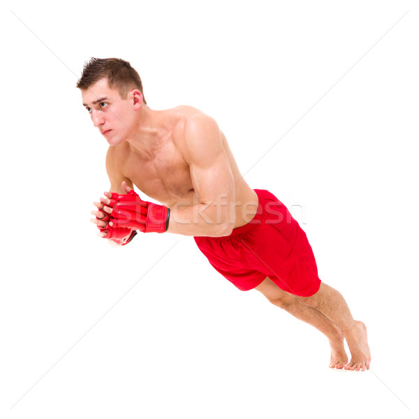 Boxoló férfi testmozgás izolált fehér teljes alakos Stock fotó © stepstock