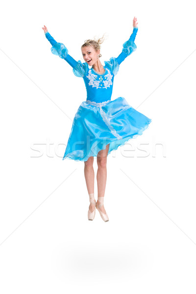 Full length of young ballerina jumping Stock photo © stepstock