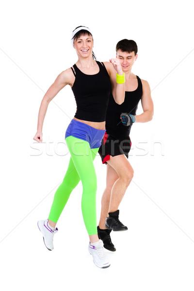 Due persone jogging insieme isolato bianco Coppia Foto d'archivio © stepstock