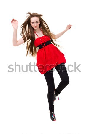 young woman with flying hair jumping Stock photo © stepstock